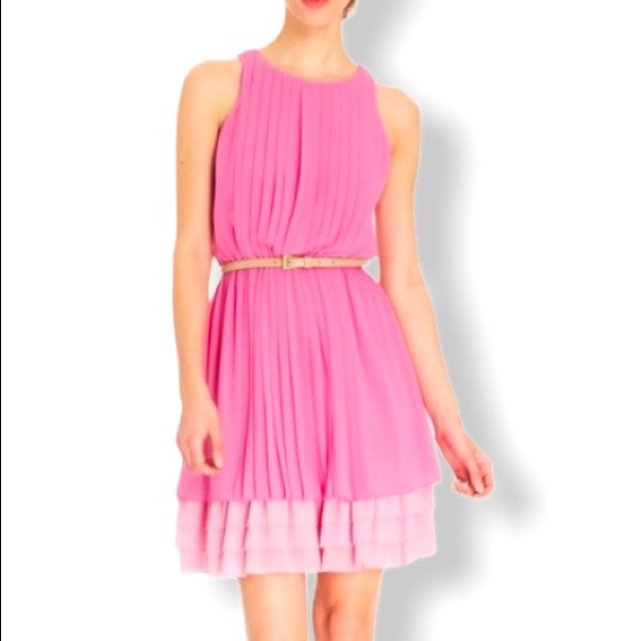 Jessica Simpson Pink Two Toned Pleated Dress S